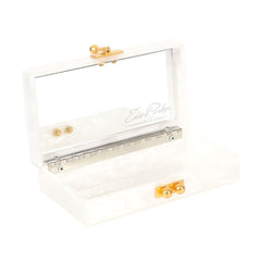 Jean Double Dot White Pearlescent Gold Glitter Clear Mirror Design Handbag Clutch Open View