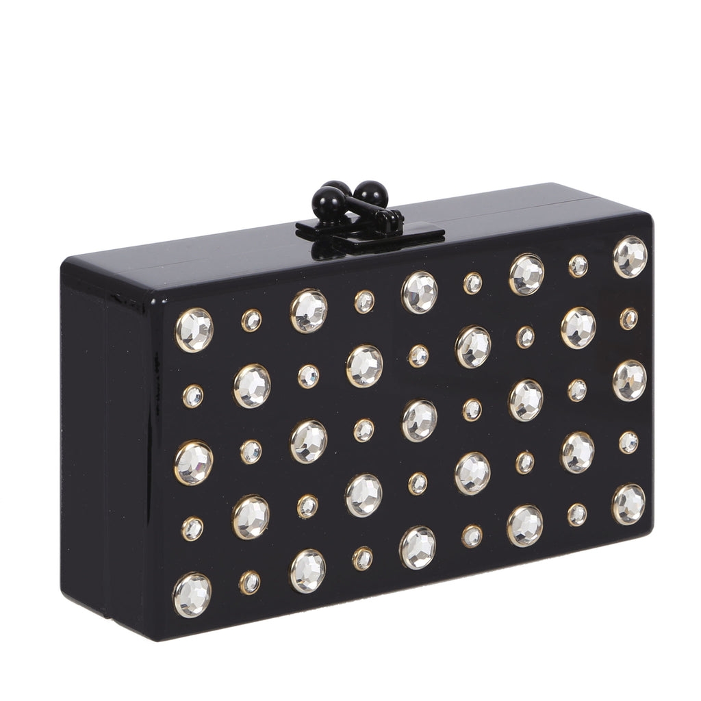 Edie Parker Jean Stud Obsidian Black Clear White Austrian Crystal Handbag Clutch Feature Image