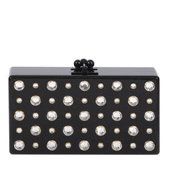 Edie Parker Jean Stud Obsidian Black Clear White Austrian Crystal Handbag Clutch Front View