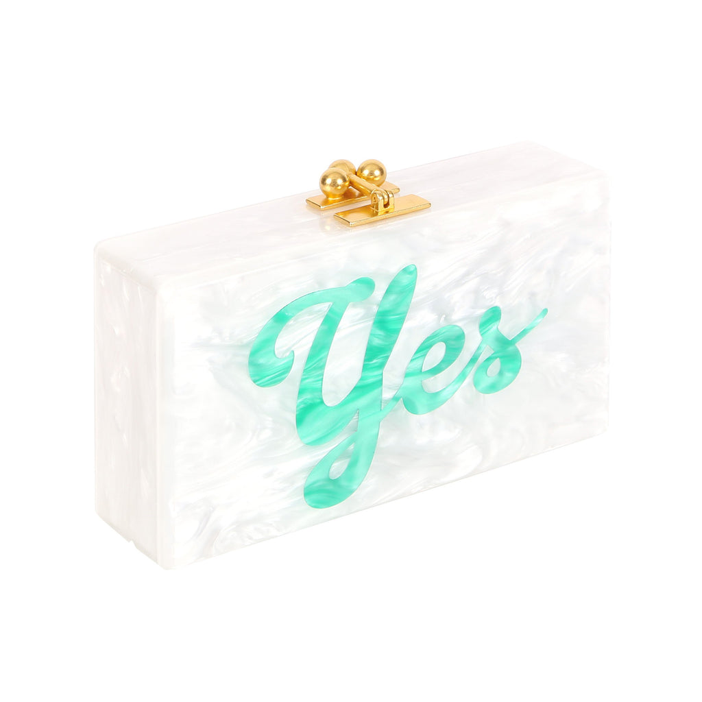 Edie Parker Yes No Double-Sided Jean Handbag Clutch White with Green and Red Cursive Text Feature Image
