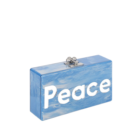 Edie Parker Jean Peace Love Periwinkle Marble Blue Handbag Clutch Mirror Text