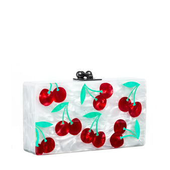Edie Parker Jean Cherry Clutch in White Pearlescent Red Kelly Green with Black Hardware closure