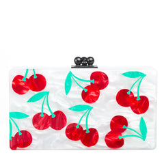 Edie Parker Jean Cherry Clutch in White Pearlescent Cherries in Red and Kelly Green with Black Hardware closure front view