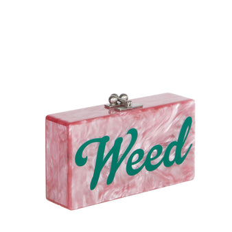 Edie Parker Jean Weed Handbag Clutch Dusty Rose Pearlescent Emerald Script Text