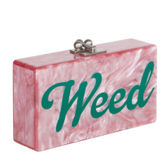 Edie Parker Jean Weed Handbag Clutch Dusty Rose Pearlescent Emerald Script Text Silver Clasp