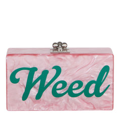 Edie Parker Jean Weed Handbag Clutch Dusty Rose Pearlescent Emerald Script Text Evening Bag