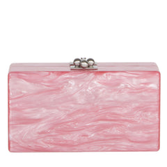 Edie Parker Jean Weed Handbag Clutch Dusty Rose Pearlescent Emerald Script Text Back View
