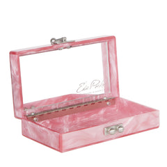 Edie Parker Jean Weed Handbag Clutch Dusty Rose Pearlescent Emerald Script Text Mirror Inside