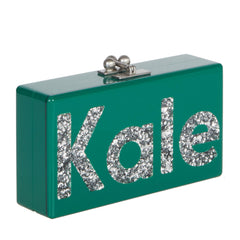 Edie Parker Green Emerald Jean Kale Handbag Clutch Large Block Print Silver Confetti text Made in America