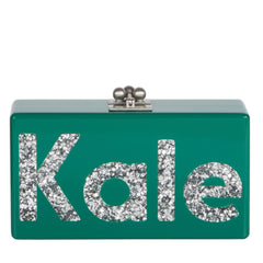 Edie Parker Green Emerald Jean Kale Handbag Clutch Large Block Print Silver Confetti text and Hardware