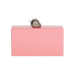 Edie Parker Jean Strawberry Bubblegum Pink Silver Novelty Clasp 100% Acrylic Handbag Clutch Magnetic Closure
