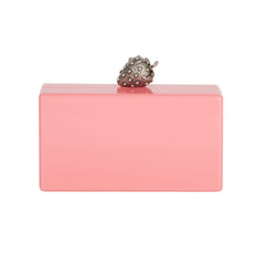 Edie Parker Jean Strawberry Bubblegum Pink Silver Novelty Clasp 100% Acrylic Handbag Clutch Back View