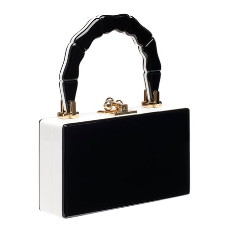 black-white, Jean Bamboo Stripe with top handle and kiss-lock hardware