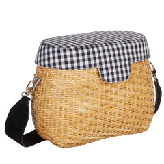 Edie Parker Jane Basket Straw Gingham Handbag Crossbody Strap Picnic Bag Blue Cotton Lid feature angled view