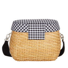 Edie Parker Jane Basket Straw Gingham checked print Handbag Crossbody Strap Picnic Bag Blue Cotton Lid back view