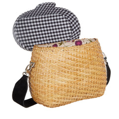 Edie Parker Jane Basket Straw Gingham Handbag Crossbody Strap Picnic Bag Blue Cotton Lid with interior floral cotton lining thick strap