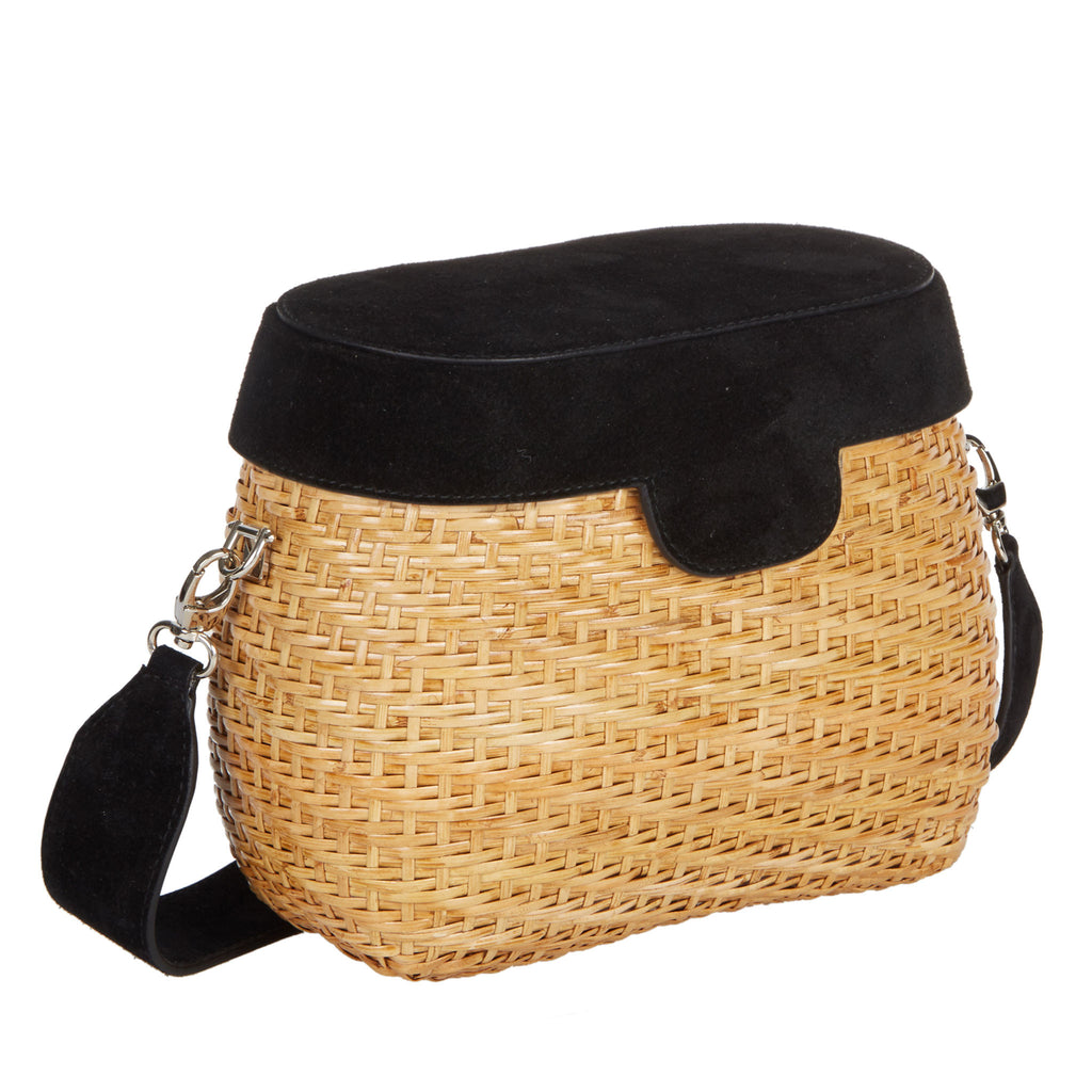 Edie Parker Jane Basket Straw Black Suede Lid Handbag Crossbody Strap angled view feature