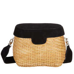 Edie Parker Jane Basket Straw Black Suede Lid Handbag Crossbody Strap front view