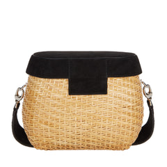 Edie Parker Jane Basket Straw Black Suede Lid Handbag Crossbody Strap back view