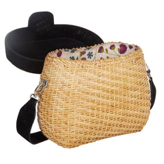 Edie Parker Jane Basket Straw Black Suede Lid Handbag Crossbody Strap with interior signature floral lining