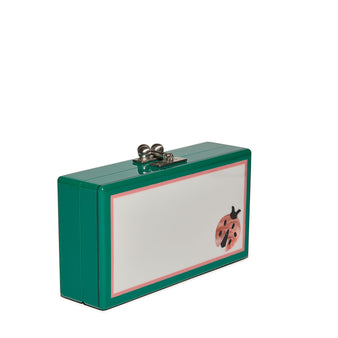 Edie Parker Jean Single Lady Bug Clutch Handbag in Emerald with Pink Ladybug motif and silver hardware