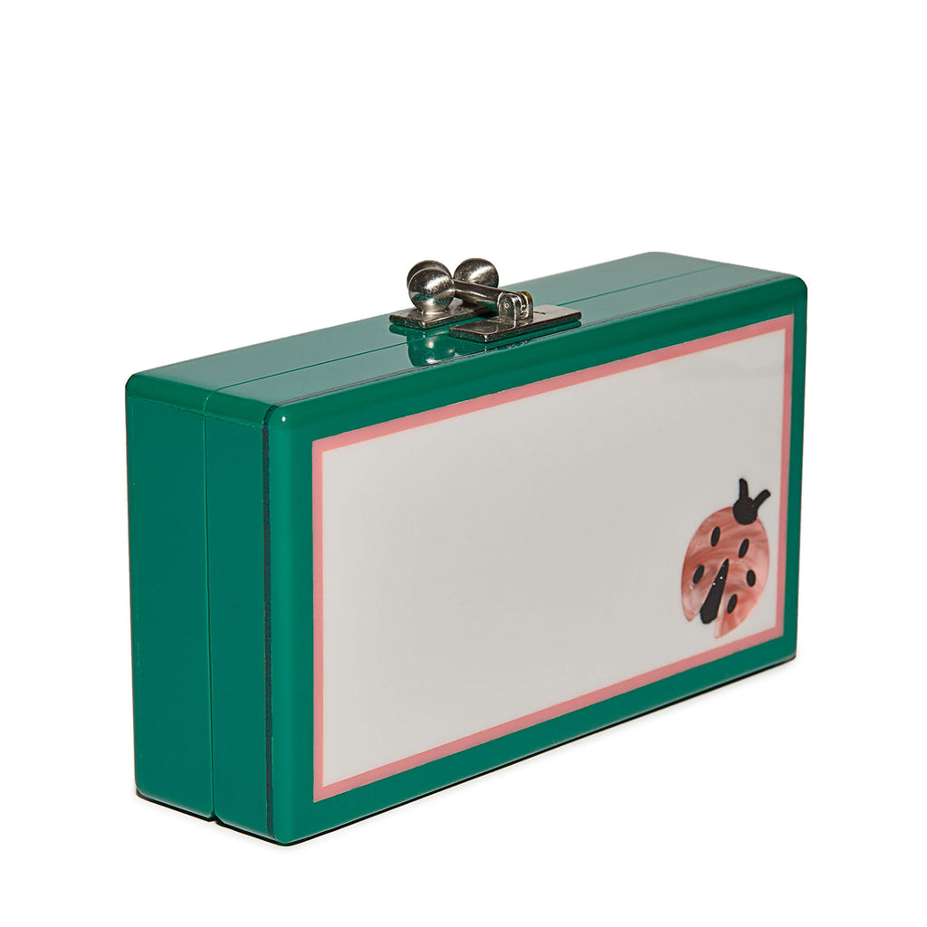 Edie Parker Jean Single Lady Bug Clutch Handbag in Emerald with Pink Ladybug motif and silver hardware angled view feature