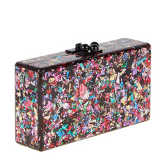 Edie Parker Jean Solid Rainbow Confetti Black Clasp Handbag Clutch Acrylic Feature View