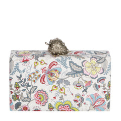 Edie Parker Jean Strawberry multi color Floral Printed Clutch exterior and interior with novelty strawberry metal clasp front view