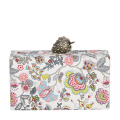 Edie Parker Jean Strawberry multi color Floral Printed Bag exterior and interior with novelty strawberry metal clasp back view