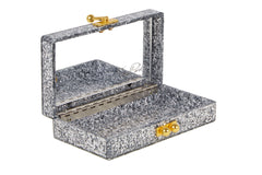 Edie Parker Silver Confetti Jean Bow Handbag Clutch Gold Design Open View