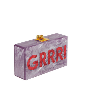 Edie Parker Jean Grrr! Handbag Clutch Mauve Swirls Red Block Text
