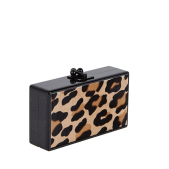 Edie Parker Jean Panel Leopard Haircalf Handbag Clutch Black Clasp