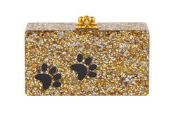 Edie Parker Jean Paws Gold and Silver Confetti Black Paw Print Gold Hardware Handbag Clutch Front View