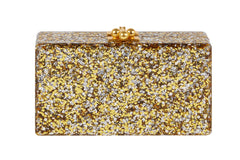 Edie Parker Jean Paws Gold and Silver Confetti Black Paw Print Gold Hardware Handbag Clutch Back View