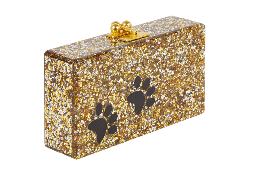 Edie Parker Jean Paws Gold and Silver Confetti Black Paw Print Gold Hardware Handbag Clutch