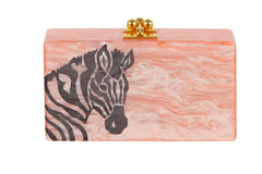 Edie Parker Jean Zebra Head Pink Pearlescent Grey Animal Head Outline Handbag Clutch