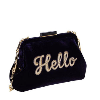 Edie Parker Velvet Lauren Hello Cursive Deep Navy Black Handbag Clutch Gold Chain Feature Image