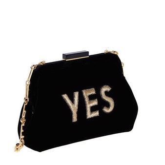 Edie Parker Lauren Yes Velvet Clutch Shoulder Handbag Velvet Gold Embroidered Text Feature Image