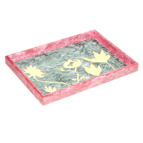 Large Tray floral silhouettes in moss with gold mirrored inlays and pink pearlescent sides.
