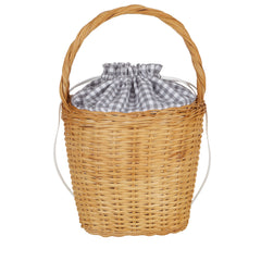 Edie Parker Lily Basket handbag woven straw gingham cotton checked print drawstring straw handle front view