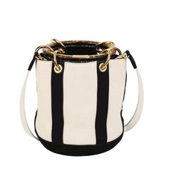 Edie Parker Natural Canvas Black Suede Panel Olivia Acrylic Gold Handle Crossbody Handbag Back View