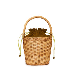 Edie Parker Lily Basket handbag woven straw moss green suede straw twisted handle drawstring front view