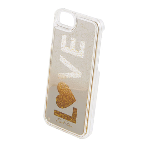 6-6s-7-8, Edie Parker Floating Love iPhone Case with silver mirrored panel featuring loose floating gold glitter sticks to glass