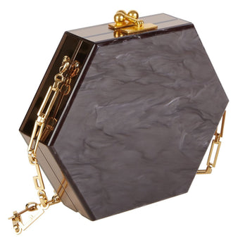 Edie Parker Macy Ribbon Clutch Crossbody in Chocolate Brown Pearlescent and Bronze Mirror sides and gold hardware chain strap