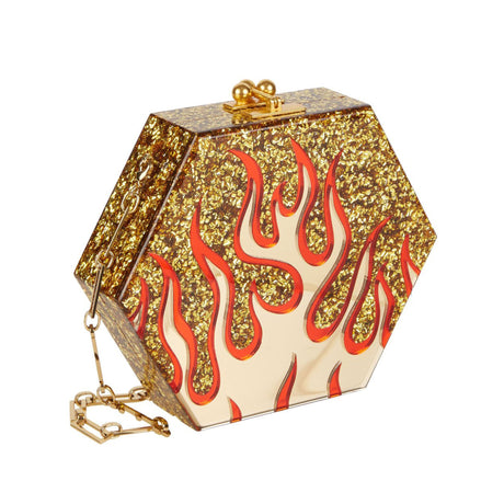 Edie Parker Macy Flames Clutch Crossbody in Gold Confetti with Gold Mirror & Red Mirror Flames with gold clasp and removable gold chain