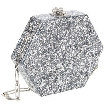 Edie Parker Macy Solid Clutch Crossbody in Silver Confetti with Silver Chain Strap