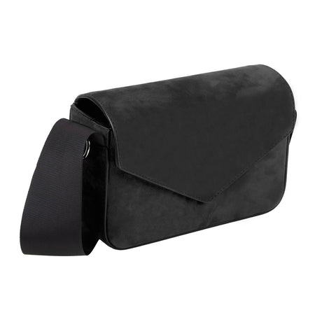 black, Edie Parker Melissa Suede Clutch Handbag Cross body Envelope opening in Black with Thick grosgrain bow strap
