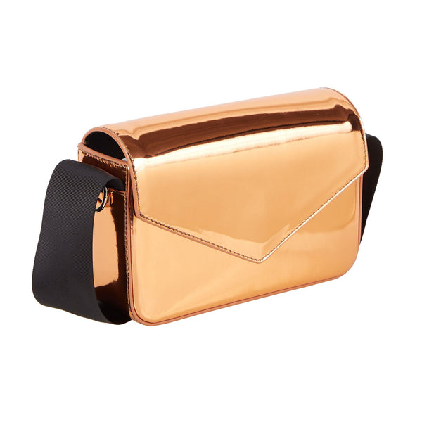 Edie Parker Melissa Leather Clutch Cross body in Copper Leather Gold with thick grosgrain bow strap