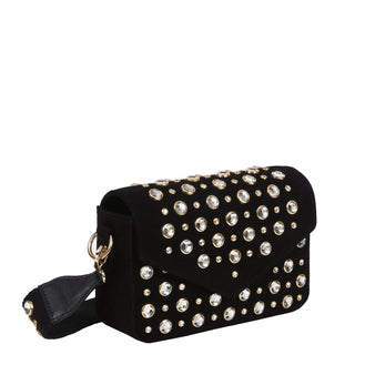 Edie Parker Melissa Suede Clear Crystal Studded Black Crossbody Handbag