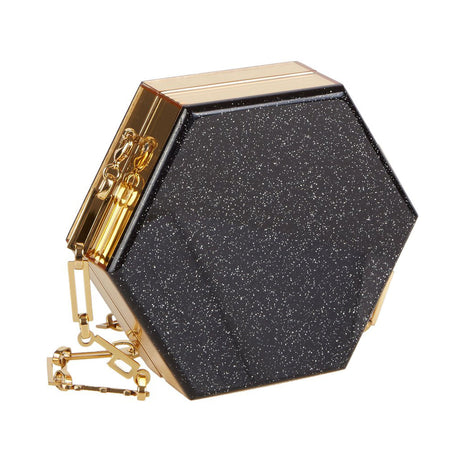 Edie Parker Mini Macy Ribbon Clutch Crossbody in Starlight Black with Gold Mirror sides and removable gold chain front view